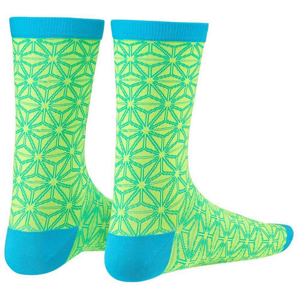 Supacaz Socks Asanoha Neon Yellow And Neon Blue