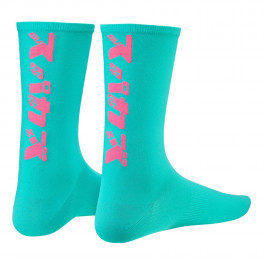 Supacaz Socks Katakana Celeste And Neon Pink