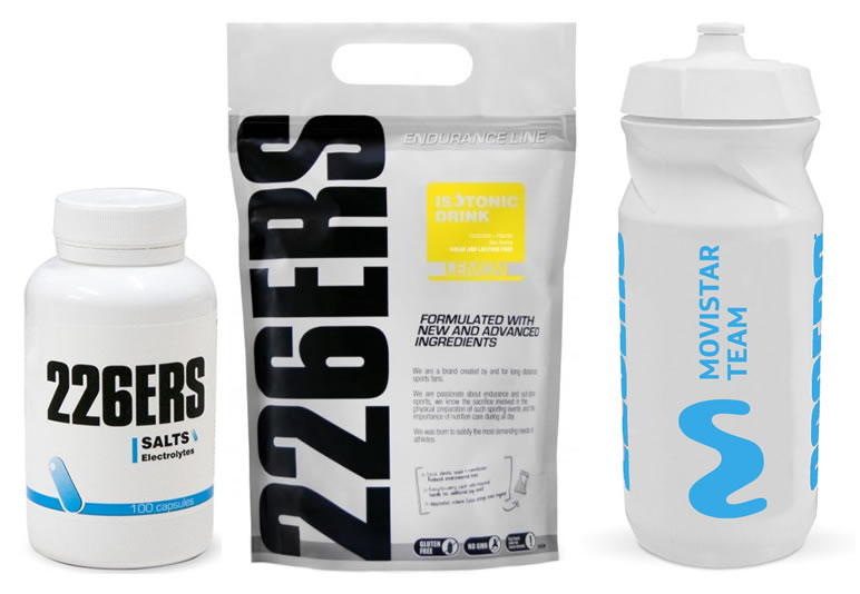Pack 226ERS Sales Minerales - Salts Electrolytes 100 caps + Isotonic Drink 1000 gr + Bidon Movistar Team 600 ml