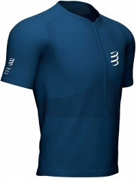 Compressport Camiseta Trail Half-Zip Fitted SS Top Azul