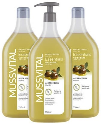 Mussvital Essentials Pack Familiar Gel de Baño Oliva 3 botes x 750 ml