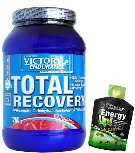 Pack Victory Endurance Total Recovery 1250 gr + Energy Up! + Cafeina Gel 1 gel x 40 gr