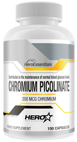 Hero Essentials Chromium Picolinate - Picolinato de Cromo 200 mcg 100 caps