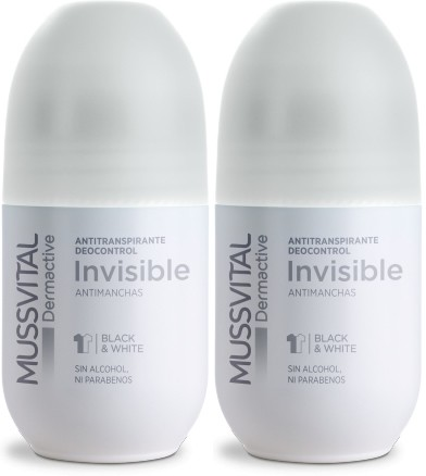 Pack Mussvital Dermactive Desodorante Roll On Invisible 2 botes x 75 ml