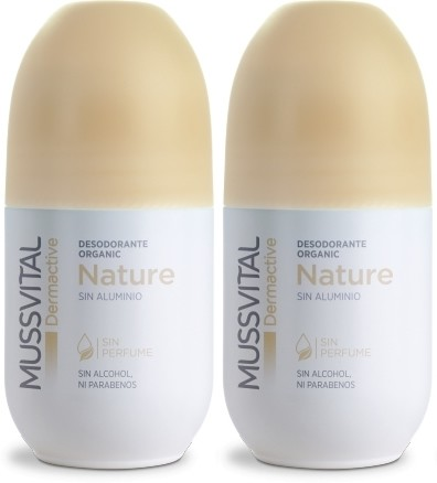 Pack Mussvital Dermactive Desodorante Roll On Nature 2 botes x 75 ml