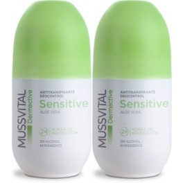 Pack Mussvital Dermactive Desodorante Roll On Sensitive Aloe Vera 2 botes x 75 ml