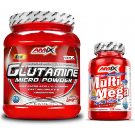Pack Amix Glutamina Powder 500 gr + Multi Mega Stack 120 tabs