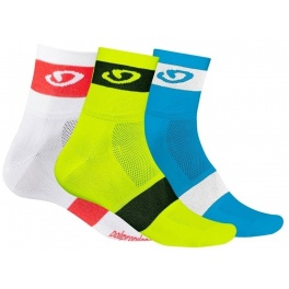 Giro Calcetines Comp Racer 3 Pack Amarillo Azul Blanco