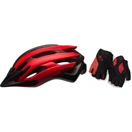 Pack Exclusivo MTB - Bell Event XC Rojo Mate + Giro Guantes Strate Dure Supergel Negro/Rojo