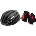 Pack Giro Casco Cinder MIPS Negro Mate - Gris Oscuro + Giro Guantes Strate Dure Supergel Negro/Rojo