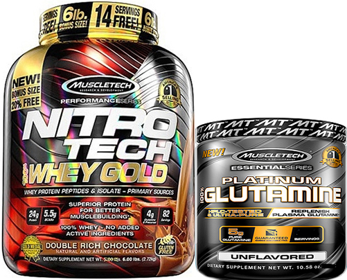 Pack Muscletech Nitro Tech Whey Gold 2,51 kg + Platinum 100% Glutamina 100 gr