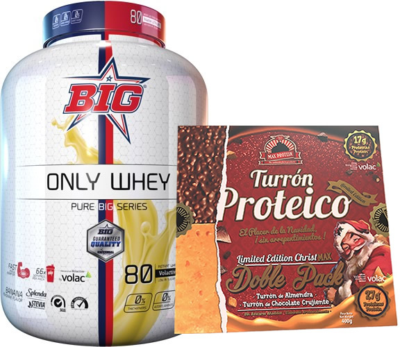 Pack BIG Only Whey Pure Big Series 2 kg + Max Protein Turron Proteico Edicion Limitada Christmax Doble Pack 400 gr