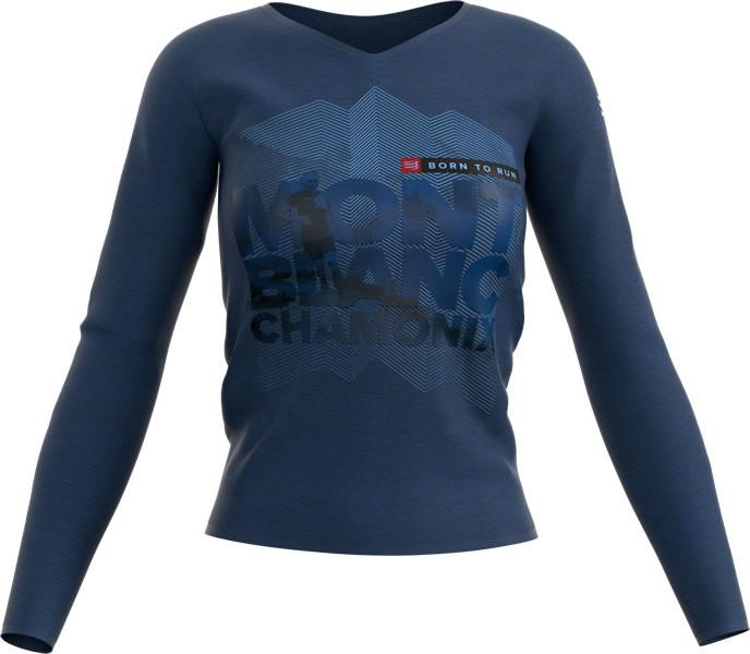 Compressport Training Tshirt LS Camiseta Manga Larga Mujer Mont Blanc Azul