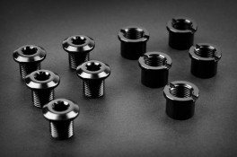 Absolute Black Repuesto - Bolts  for Road & Mtb Black - 5 X Long Bolts+ Nuts These Are For 110/5bcd Big Rings