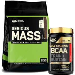 Pack Optimum Nutrition Proteína On Serious Mass 12 Lbs (5,45 Kg) + Gold Standard BCAA Train + Sustain 266 gr