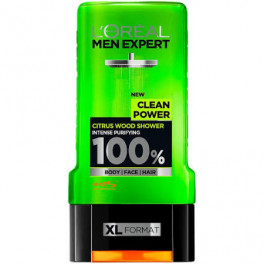 L'oreal Men Expert Gel De Ducha Clean Power 300 Ml Unisex