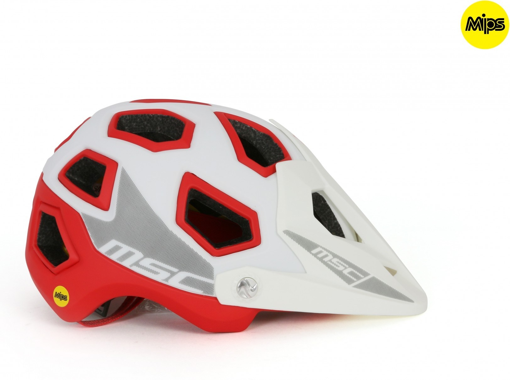 Msc Casco Mips Enduro Blanco / Rojo