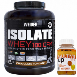 Pack Weider Isolate Whey 100 CFM 908 gr + Multivit UP Gummies - Multivitaminico 80 Gominolas