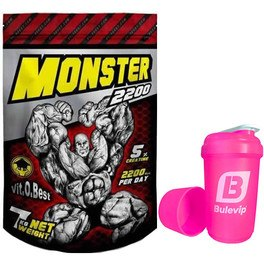 Pack VitOBest Monster Gainer 2200 7 kg + Bulevip Shaker Pro Rosa - 500 ml