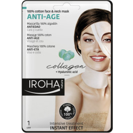 Iroha 100% Cotton Face & Neck Mask Collagen-antiage 1 Use Mujer